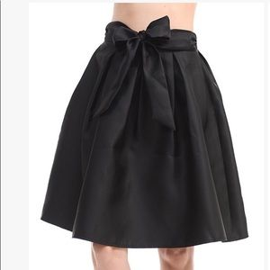 Black Satin A-line skirt with Bow